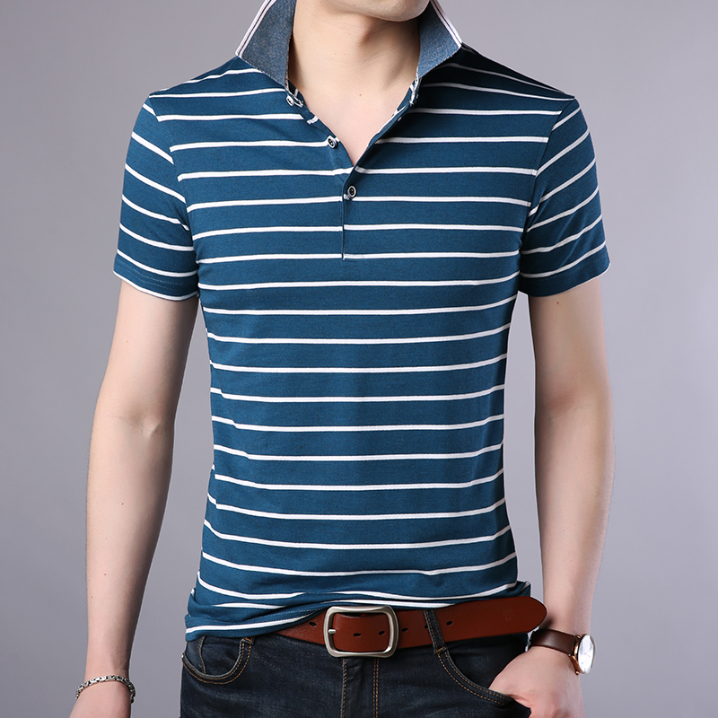 2019 New Fashion Brand Summer   Polo   Shirt Men Striped Top Grade Slim Fit Short Sleeve Mercerized Cotton   Polos   Casual Men Clothes