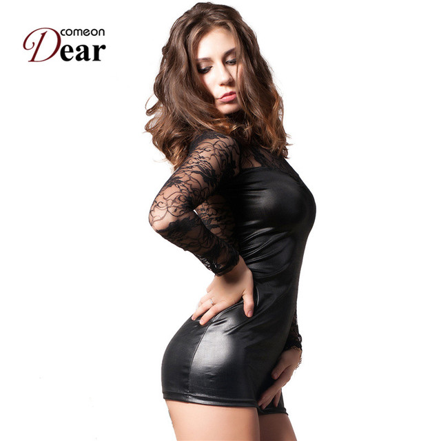 Come on dear  Hot Black Lace & Size Faux Leather Sex Lingerie Dress RJ7393