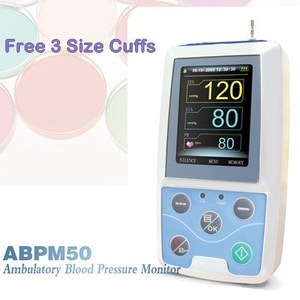 EMS Free Shipping CE Approved CONTEC ABPM50 Ambulatory Automatic Blood Pressure Monitor NIBP With Free 3 cuffs
