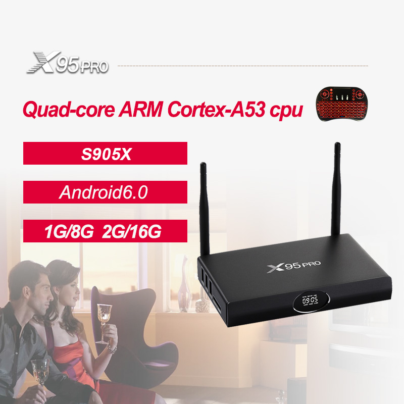X95 PRO Android 6.0 TV BOX Amlogic S905X Quad Core 2 gb 16 gb Wifi HDMI Bluetooth 4.0 H.265 Smart set-top Box Media Player PK TX3