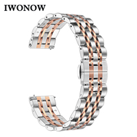 iWonow Stainless Steel Watchband for Fossil Gen 4 Q Venture HR / Gen 3 Q Venture Quick Release Watch Band Butterfly Clasp Strap