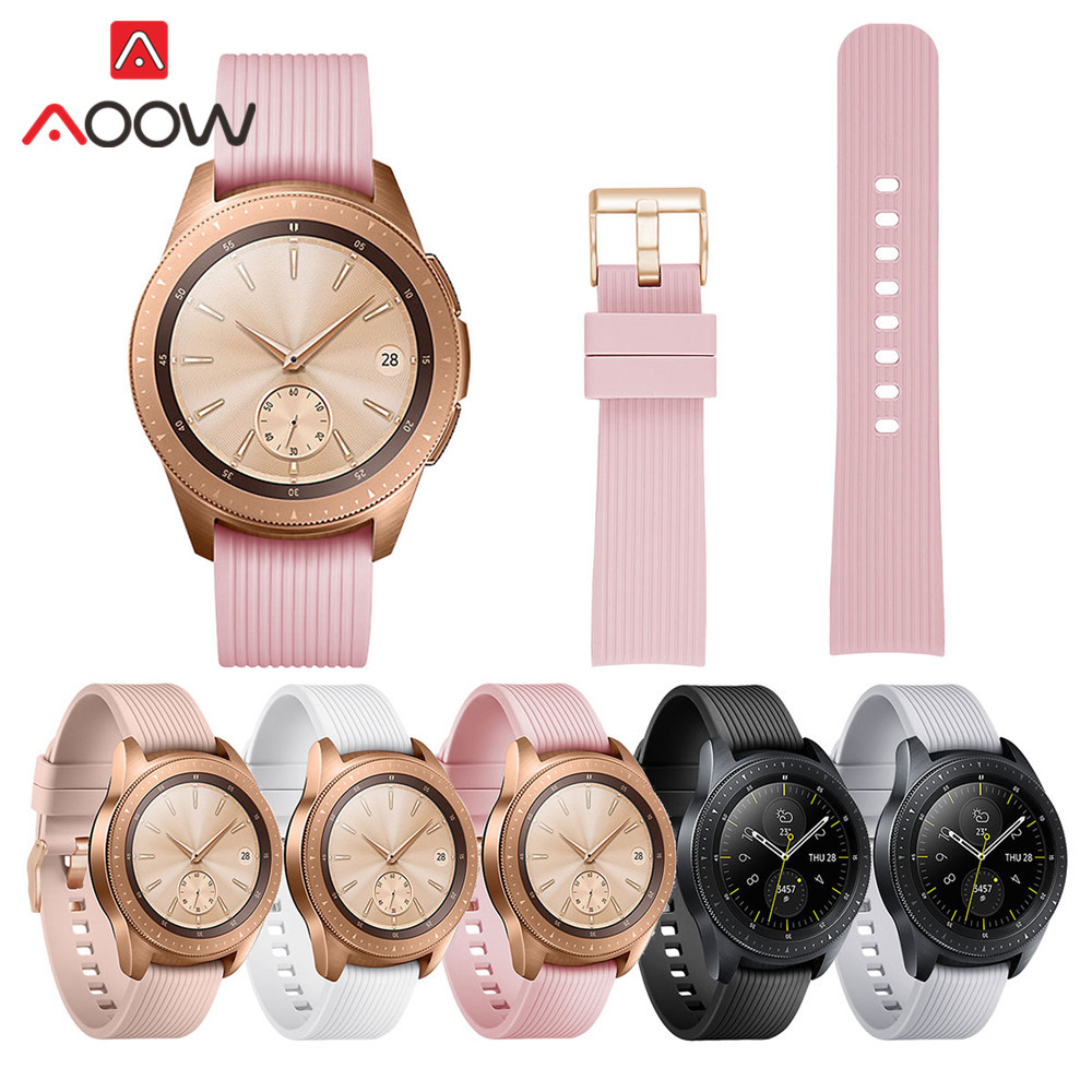 20mm Striped Silicone Watchband for Samsung Galaxy Watch Active 42mm Gear S2 Rose Gold Buckle Replacement Bracelet Band Strap bracelet