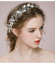 Bridal Rhinestone Set Auger Flower Headbands Hair Jewelry Wedding Accessories Vintage Novia Casamento Acessorios Para Mulher