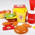 Brinquedos Educacionais do bebê Simulação Hamburgo Família Balde Alimentos Brinquedos De Madeira Brinquedo Casa de Jogo de Cozinha Hambúrguer Conjunto Presente de Aniversário para Crianças