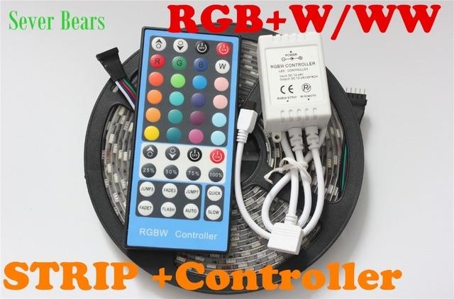 5M RGBW 5050 LED strip Light +40key 5 pin remote controller  Waterproof  IP65 DC12V SMD 60Leds/M 300 LEDS Flexible Light strips