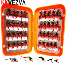 KKWEZVA 40pcs Insect Fly Fishing Lure Artificial Bait Feather Single Treble Hooks Carp Fish Water surface