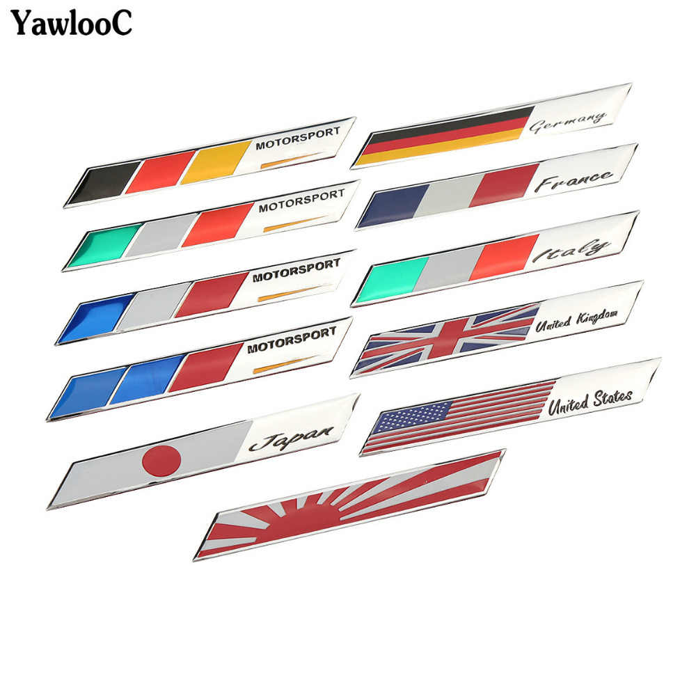 UK USA ITALY FRANCE GERMAN M-POWER JAPAN National Flags Car Stickers Automobiles Motorcycles Decorating Accessories