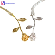 susenstone 2017 Fashion Rose Flower Pendant Necklace Boho Vintage Charm Cute Women Jewelry Valentine's Day  Anniversary Gifts