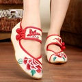 Vintage Embroidery Women Flats Chinese Floral canvas embroidered shoes national old Beijing cloth single dance soft shoes