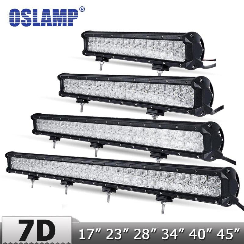 Oslamp Mise À Niveau 7D Lentille 17 28 34 40 45 Droite LED Lumière Bar + DRL offroad 4x4 Led Barre Lumineuse de Travail avec Toboggan Bas Support