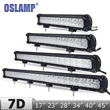 Comprobador de precios Oslamp actualización 7D lente 17 28 34 40 45 recta LED Bar + DRL offroad 4x4 Led Barra de luz de trabajo con diapositivas soporte inferior