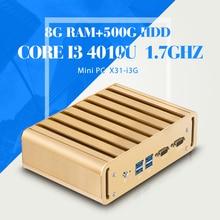 I3 4010U 8 ГБ RAM 500 ГБ HDD Безвентиляторный Промышленный Компьютер Настольный Компьютер Мини-ПК с 1 * Hdmi 1 * VGA, 2 * RJ-45, 2 * COM, 6 * USB