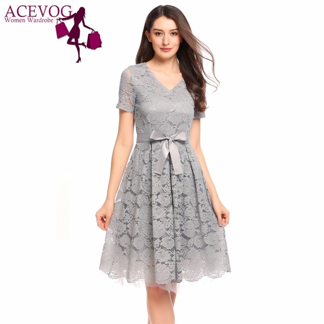 a6bc995d19f ACEVOG Women Lace Dress Summer Vintage Women V-Neck Short Sleeve Bow Belted  Fit and Flare Floral Lace Feminino Dresses Vestidos