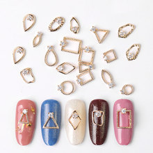 2pc gold 3d Rhinestone metal alloy jewelry Nail Art gems fashion glitter Zircon nail charms