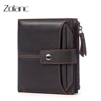 Zolanc Fashion Men S Wallet Leisure Genuine Leather Short Design Zipper Purse Coin Purse Men Wallet