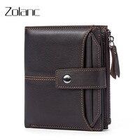 Zolanc Fashion Men S Wallet Leisure Genuine Leather Short Design Zipper Purse Coin Purse Men Wallet