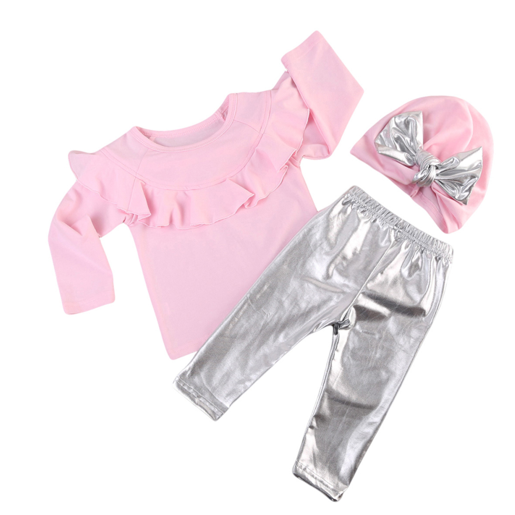 3PCS Spring Kids Baby Girls Clothing Sets Newborn BabyGirl Tops+Silver Pants+Bow-knot Hat Toddler Clothes Costume