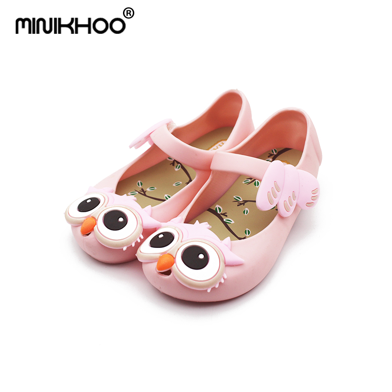 Mini Melissa 2017 Mini New Owl Girl Jelly Sandals Girls Shoes Children Shoes Princess Sandals Cartoon Savory Shoes Mini Kids