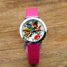 Lovely Patrol dogs cartoon gift wristwatch child boys girls quartz watch fashion kids cute dog dial leather Luminous watches