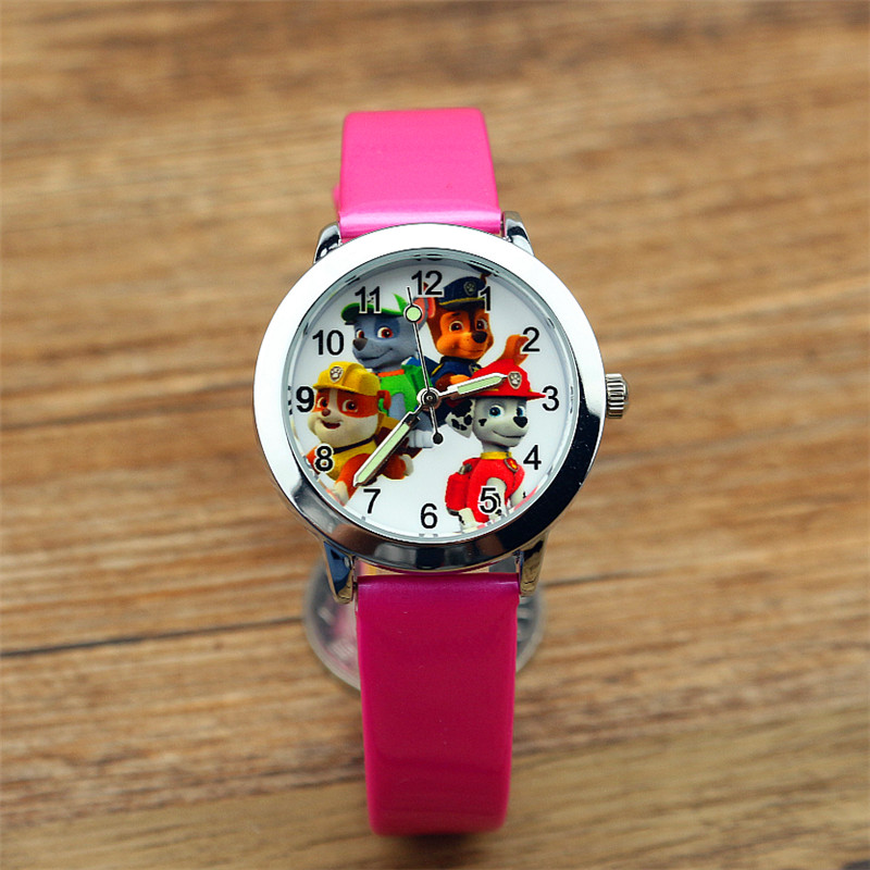 Paw Patrol Lovely Cartoon Child Boys Girls Quartz Watch Fashion Kids Cute Dog Dial Leather Luminous on car door closure