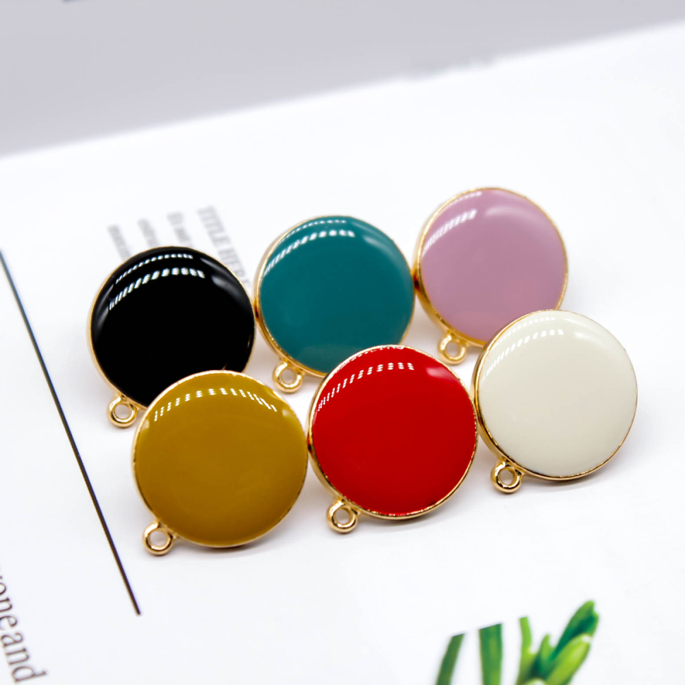 ZEROUP Enamel Alloy Stud Earring Simple Style For Women DIY Jewelry Accessories Handmade Materials 6pcs