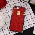 France Brand Luxury Crocodiel Leather Monogram Metal Logo Case Chain For Iphone 7 7 Plus 6 6S 6 Plus Modern Design Phone Cases