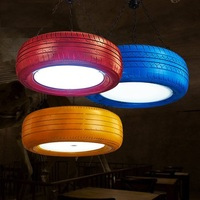 Loft Style Retro Color Rubber Tyre Droplight LED Pendant Light Fixtures Dining Room Hanging Lamp Vintage Industrial Lighting