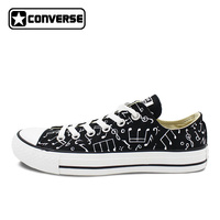 Original Converse All Star Shoes Hand Painted Music Notes Custom Design Black Low Top Canvas Sneakers