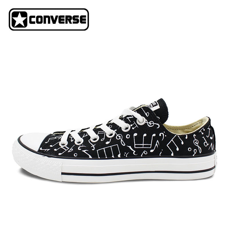 Original Converse All Star Shoes Hand Painted Music Notes Custom Design Black Low Top Canvas Sneakers for Gifts