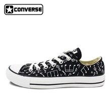Оригинальные Converse All Star обувь ручной росписью ноты пользовательские Дизайн черный низкий верхний холст кроссовки для подарков