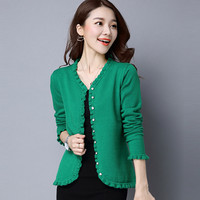 Green Cardigan Elephant Sweater Women Clothing Single Breasted Slim Knitwear Spring Autumn