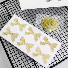 60pcs/lot Kawaii Stickers Gold Bow Bronzing Transparent Seal Sticker Gift Packaging Stickers Scrapbooking Sealing Label Sticker