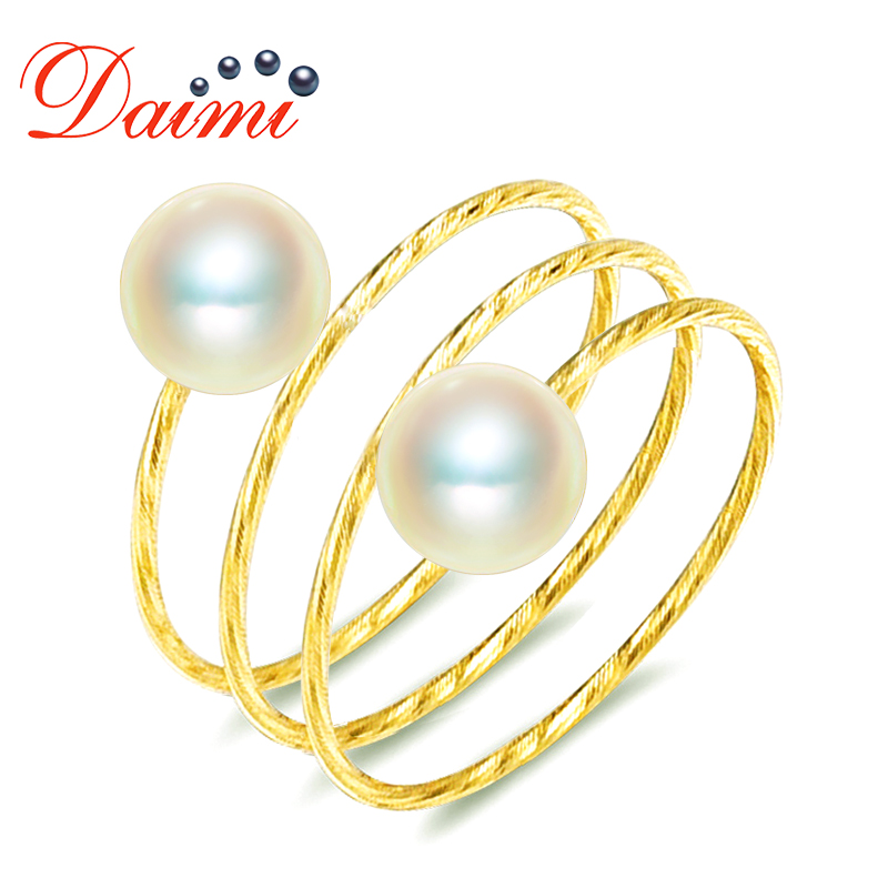 DAIMI 18K Yellow Gold Ring Perfectly Round Pearl 5-5.5mm Akoya Pearl Ring pearl beaded ring round neck tee