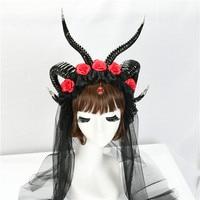 Steampunk Horns Headdress Gothic Headand Halloween Cosplay Moon Spirit Dramatic Steampunk Crown Demon Lace Witch Horns Headpiece
