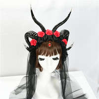 Steampunk Horns Headdress Gothic Headand Halloween Cosplay Moon Spirit Dramatic Steampunk Crown Demon Lace Witch Horns Headpiece
