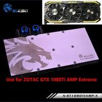 BYKSKI ST1080AMP X Full Cover Graphics Card Water Cooling Block Use For ZOTAC GTX1070 1080 AMP