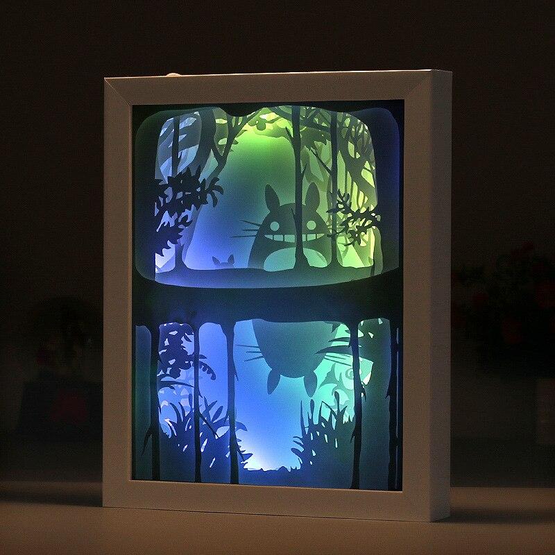3D Paper Carving Light Totoro 4 Colors Night Lights ABS Frame LED Night Lamp USB Table Light For Children's Room Decor Lamp Gift цена