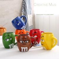 Lovely M&M'S Chocolate Beans Ceramics Mugs 700ml Large Capacity Breakfast Coffee Milk Cup Drinkware Cute Cartoon Xmas Gift