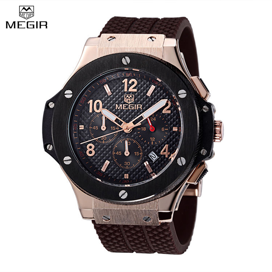 MEGIR CHRONOGRAPH Men Sport Watch Top Luxury Brand Military Watch relogio masculino 24 Hours Function Quartz Watches /M3002 reef tiger brand men s luxury swiss sport watches silicone quartz super grand chronograph super bright watch relogio masculino