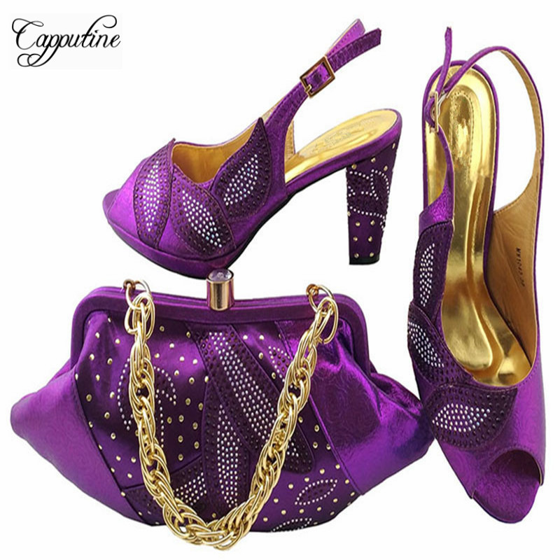 Capputine Italian Style Ladiesw Shoes Rhinestone With Matching Bags Set For Wedding Fashion Woman Shoes And Bags Set MM1043 capputine new arrival fashion shoes and bag set high quality italian style woman high heels shoes and bags set for wedding party