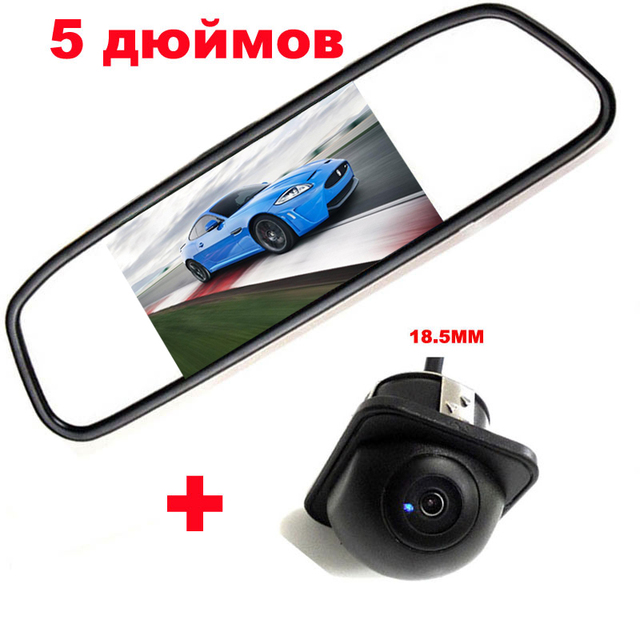 "Universal 18.5mm Car Rearview Camera CCD 170 Angle Backup front camera + 5"" TFT LCD Reversing mirror Monitor Auto Parking system"