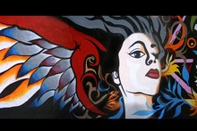 Graffity art painting woman girl with wings QT235 room home wall modern art decor wood frame poster