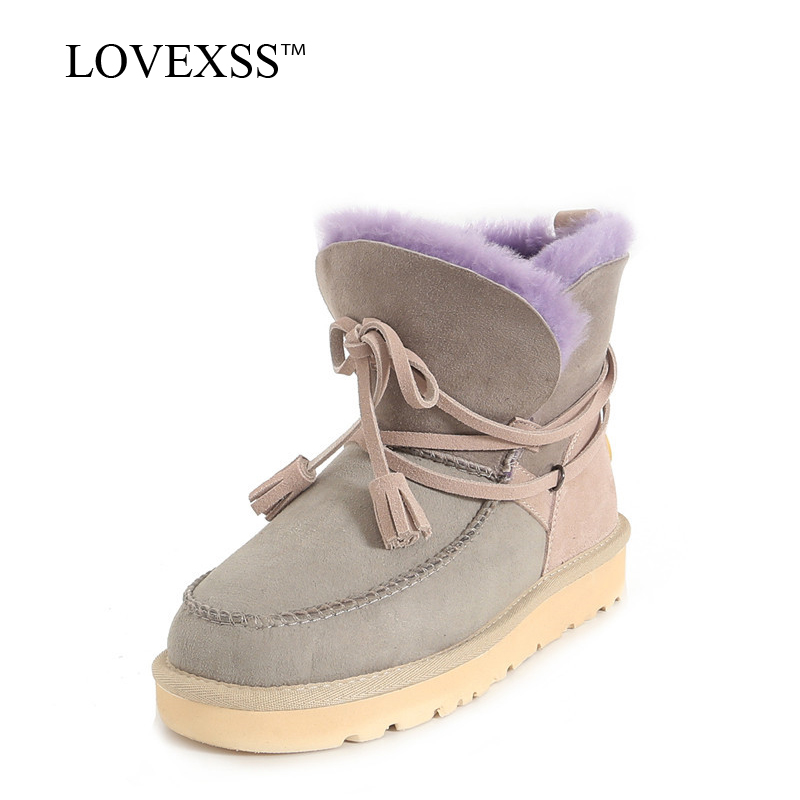 LOVEXSS Woman Shearling Snow Boots Winter Black Gray Brown Fringe Platform Ankle Boots Fashion Genuine Leather Fur Snow Boots