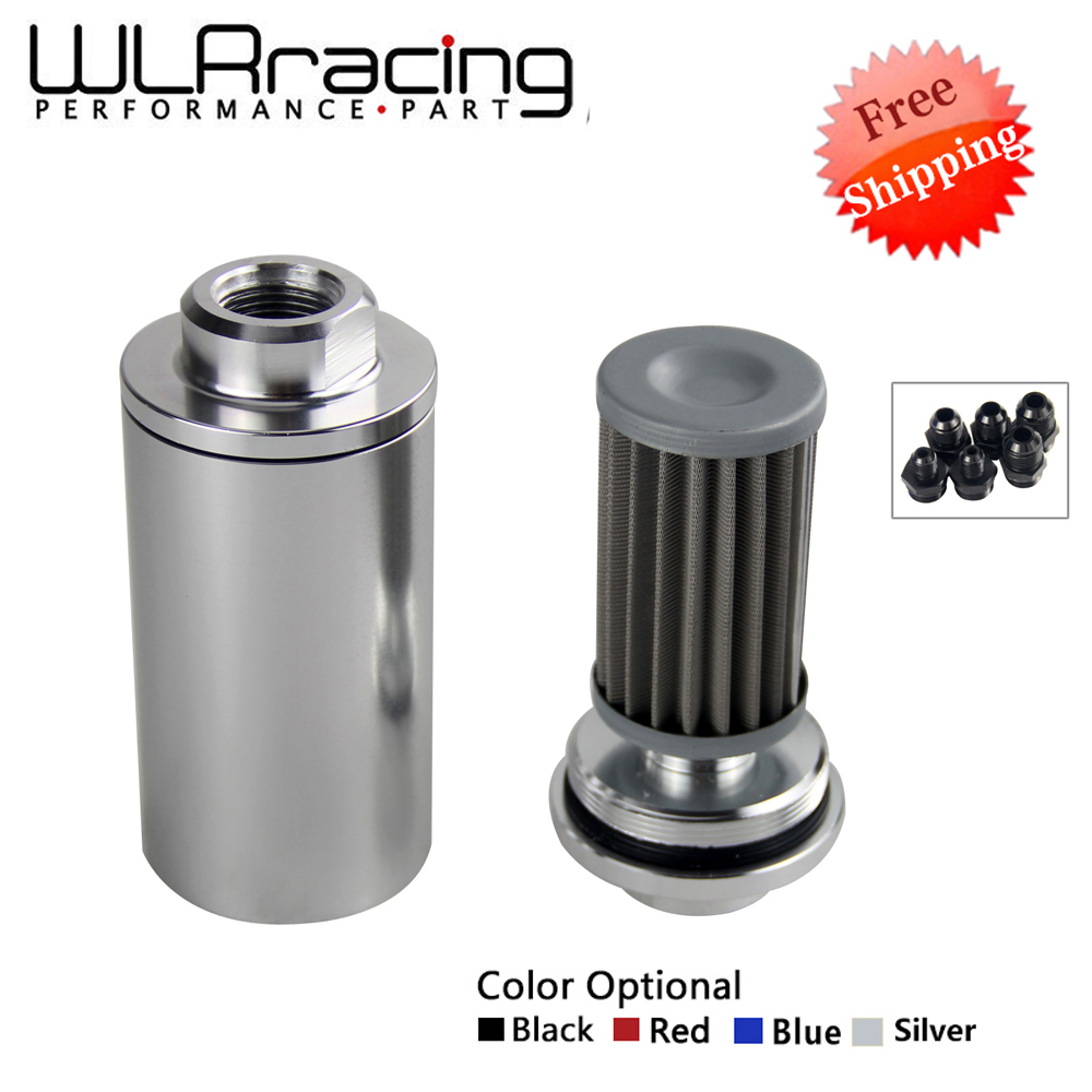 WLR - FREE SHIPPING ID:58MM Universal Fuel filter with 2pcs AN6/AN8/AN10 adaptor fittings with 100micron steel element WLR5573