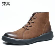 Riding boots mens Genuine Leather all-match cowhide chelsea men autumn winter British retro cowboy man breathable