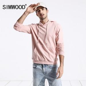 Image 2 - Мужское худи с вышивкой SIMWOOD, повседневный приталенный свитшот с капюшоном и карманом «кенгуру», новая модель 180221 большого размера на осень, 2019