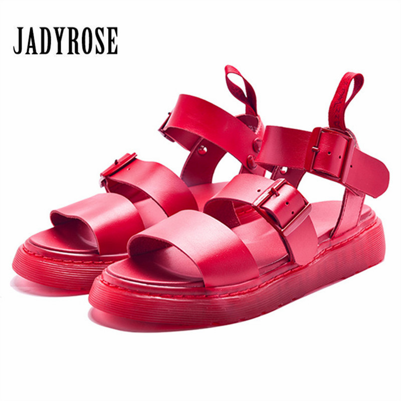 Jady Rose 2019 New Fashion Red Women Gladiator Sandals Casual Flat Shoes Woman Beach Flats Sandalias Mujer CreepersJady Rose 2019 New Fashion Red Women Gladiator Sandals Casual Flat Shoes Woman Beach Flats Sandalias Mujer Creepers