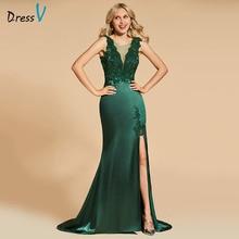 Dressv Darkสีเขียวเย็นScoopคอด้านหน้าลูกไม้ชั้นความยาวMermaidงานแต่งงานอย่างเป็นทางการชุดราตรีชุด