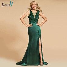 Dressv koyu yeşil abiye scoop boyun bölünmüş ön dantel kat uzunlukta mermaid düğün parti resmi elbise akşam elbiseler