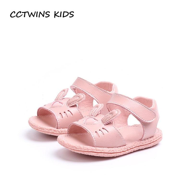 CCTWINS KIDS 2018 Summer Baby Girl Fashion Bunny Flat Shoe Toddler Genuine Leather First Walker Children Pink Slipper FW048